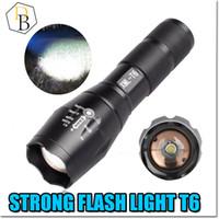 Wholesale FlashLight XML T6 Camping Outdoor Sport Torch Flash Light T6 waterproof Lumen Handheld light Adjustable Focus Zoom Support AAA battery