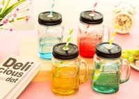 Wholesale 2016 lates Mason Jar Cup Fruit Icecream Infusion Clear Gradients Personality Fashion Style Cold Drink Cups