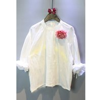 Wholesale NEW spring girls casual blouses solid white full sleeve flower decoration blouse hot best quality