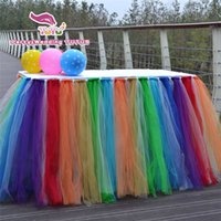 Wholesale Customizable party table skirt rainbow color birthday table skirt Polyester Solid in Height wedding skirt table