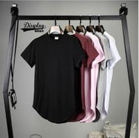 big and tall casual shirts - bang kpop mens big and tall plain extended t shirt streetwear kanye west fitness clothing extra long circular arc t shirts