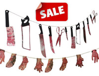 Wholesale Halloween prop haunted house decor torture bloody Body tools Severed Body Parts garland banner clubing Gory Party Hanging Decoration