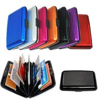 Wholesale Aluma Button Wallet Credit Card Holder Aluminum Case Protect Rfid Scanning Waterproof Business ID credit wallet aluminium card holder case