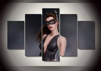 anne hathaway movies - 5Pcs With Framed Printed Anne Hathaway in Batman movie as catwoman Group Painting room decor print poster picture canvas beach decor