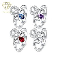 beautiful promise ring - Matching Promise Rings Beautiful Flower with Color Styles Crystal Silver Plated Finger Ring Fashion Elegant Jewelry for Women