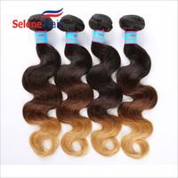 Wholesale Ombre Tone Human Hair Weave Grade A Peruvian Ombre Body Wave Bundles Virgin Ombre Hair Extensions