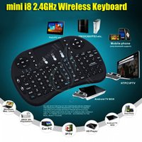 Wholesale mini i8 G Wireless Keyboard RII rechargeable battery Touchpad Remote Control Fly Air Mouse PC Pad Google Andriod TV Box Xbox360 PS3 DHL