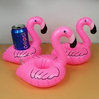 Wholesale Flamingo Inflatable Drink Botlle Holder Lovely Pink Float Bath Drink holder Flamingo Float Best swimming pool Toys