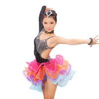 ballroom dancing dresses for kids - Hot Sales Girls Dancewear Latin Dance Dress for Girls Sequins Tango Ballroom Dance Dresses Kids Dress Stage Performance Costumes UA0173