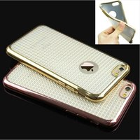 Wholesale Luxuy Fashion Bling Crystal Diamond Pattern Electroplate Soft TPU Back Cover Case For Iphone s plus Samsung S6 S6 edge S7 S7 edge J5 J7