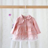 Wholesale toddler girls autumn fall baby lace coat new korean kids hollow out coat cute girl jacket high grade baby trench coa