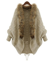 Wholesale autumn and winter fashion loose plus size cardigan batwing sleeve fur collar sweater outerwear cape