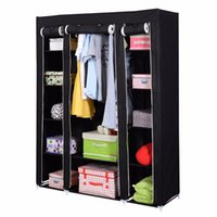 Wholesale 53 quot Portable Closet Wardrobe Clothes Rack Storage Organizer With Shelf Black New HW49692BK