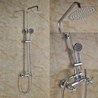 Wholesale Chrome Finished Wall Mounted Shower Set Faucet quot Rain Shower Head With Hand Shower