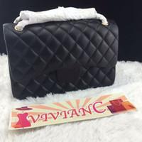 Wholesale Vivian C Luxury CC Brand CF cm Women Classic Genuine Leather Flap Lambskin Handbag