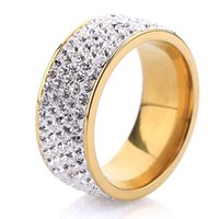 Wholesale New desing women s fashion ring Row Clear Crystal Jewelry K Gold Plated Stainless Steel Rings
