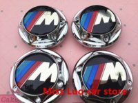 Wholesale 4pcs mm M style car emblem Wheel Center Hub Caps Dust proof Badge covers with black pins car styling