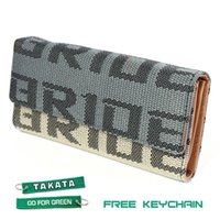 Wholesale JDM WOMENS BRIDE RACING FABRIC TRIFOLD WALLET LEATHER GRADATION FEMALE TEAL TKT Keychain