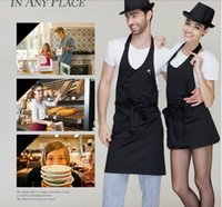 Wholesale Fashion V neck Plain Apron Aprons with Front Pocket Bib Kitchen Cooking Craft Chefs Catering Bar Adult Teenage College Clothing