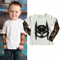 baby tattoo sleeves - Kids Trendy Cotton T shirt Boy Spring autumn Long Sleeve Tops Novelty Tattoo Patchwork Sleeve Baby cool Casual Tees