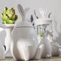Wholesale Elegant Style Top Quality Pure Handmade Porcelain Four Styles Rabbits Interior Design Pot Luxury Modern Style Decorative Ceramic Art White C