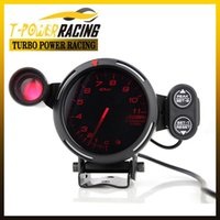 Wholesale Red mm D fi Tachometer gauge Red Green Warning Auto meter auto gauge black face Blue led or Red led or White led