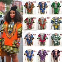 Wholesale African Dashiki Dresses For Women Men African Clothes hip hop T Shirt Caftan Vintage Fashion Tribal Mexican Top Ethnic Clothing