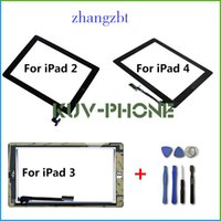 Wholesale For iPad Touch Screen Glass Digitizer Assembly with Home Button Adhesive Glue Sticker Replacement Repair Parts Free tools