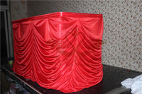 Wholesale RED Color Ruffled Ice Silk Table Skirt For Wedding Decoration