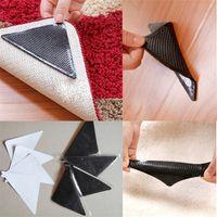 Wholesale 4Pcs Home Rug Carpet Mat Non Slip Skid Grippers Reusable Washable Silicone Soft Carpet Grip Black Slide proof cm x10 cm