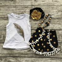 Wholesale new summer girls boutique clothing white feather shorts black dot outfit with matching necklace and bow set