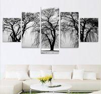 Черные отпечатки искусства Цены-Мода 5 шт Абстрактный пейзаж Современные масло холст живопись для гостиной белый и черный Wall Art Prints Home Decor
