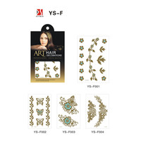 Wholesale Superior quality New Art hair decorations Stickers Recycling use Golden Flower Pattern Popular Fashion Gilt Waterproof Provide customized se