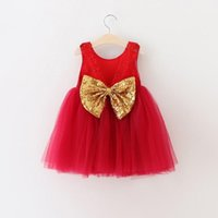 baby warm dress - Baby Girls Christmas Dress New Autumn Winter Sleeveless Kids Clothing Warm Tutu Lace Dress Big Sequins Glitter Bows Knot