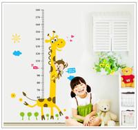 adhesive rulers - Kids Height Chart Wall Sticker Home Decor Cartoon Giraffe Height Ruler Home Decoration Room Decals Wall Art Sticker Wallpaper