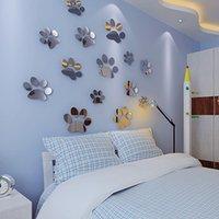 al por mayor calcomanías de decoración de la habitación-10 sistemas / porción tridimensional techo del espejo Decal nuevas huellas de habitación de los niños decoran pared pegatinas decoración de la pared de fondo