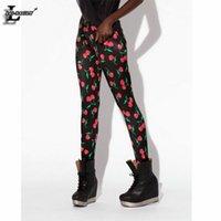 gothic clothes - New Cherry Digital Printed Black Leggings Fashion Shiny Fitness Leggins Gothic Creative Shape Pants Women Clothing BL