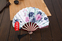 Wholesale 2016 New Hot Selling Pretty Flowered Chinese Craft Handheld Folding Hand Fan Style Dancing Lady s Fans