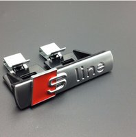 Wholesale 10pcs Matt ABS sline grill emblem For Audi S Line Sline car badges Emblem with clips silver for Audi A3 A4 A5 A6 S3 S4 TT Q7 QuattroTT