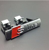 achat en gros de audi sline grill-10pcs / lot Matt ABS sline grille emblème Pour Audi S Line Sline badges de voiture Emblème avec clips argent pour Audi A3 A4 A5 A6 S3 S4 TT Q7 QuattroTT