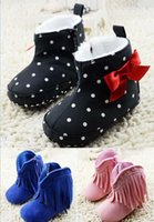 Wholesale 2016 new Tassels bow girl rabbit PU soft bottom casual plus velvet warm boots MONTH winter baby boy cotton snow boots pair