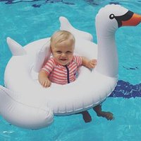 Wholesale 2016 Swan Inflatable Float Swim Ring Baby Summer Toys Swan Swimming Seat Ring Water Toys Beach Toys Colors White and Pink