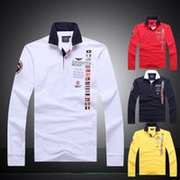 Wholesale aeronautica militare embroidery men s air force one Men Polo shirt polo Long sleeved t shirt diamond Fashion shark clothing