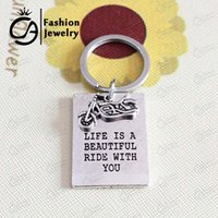 beautiful riding - Antique Silver Plated Life is beautiful ride with you Bicycle Motorcycle Bike KeyChain Father Gift for Dad LN1153