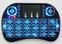 Wholesale Rii I8 Wireless Blue Backlight Mini Keyboard Air Mouse Multi Media Remote With Touchpad Handheld For MXQ Pro T95 M8S Plus S912 TV Box
