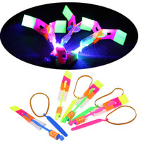 Wholesale HOT LED Arrow Helicopter LED Amazing Arrow Flying Helicopter Umbrella parachute Kids Toys Space UFO LED Light Halloween Flash Toys