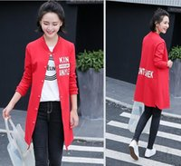 Wholesale Autumn New Printing Trench Coat Medium Round Collar Long sleeve Single breasted coat Women s Trench Coats Size S XL