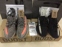 Unisex Mesh PU Boost 350 V2 Kanye West SPLY 350 Boost Grey Orange,Black White Running Shoes For Mens & Womens Size 35-46.5(Socks+Bag+Receipt+Boxes)