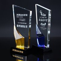 crystal awards and trophies - Sports Event Crystal trophies and awards DIY Customized Basketball Football Golf Tennis Logo Champions Cup Trophy Souvenirs prize