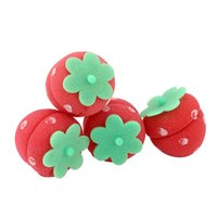 Wholesale Lovely Strawberry Sponge Hair Rollers Curling Hair Curler Rolls Twists Strawberry Balls DIY Hairstyle Hair Care Styling Tools